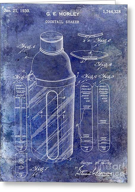 Mixed Drink Greeting Cards - 1930 Cocktail Shaker Patent Blue Greeting Card by Jon Neidert