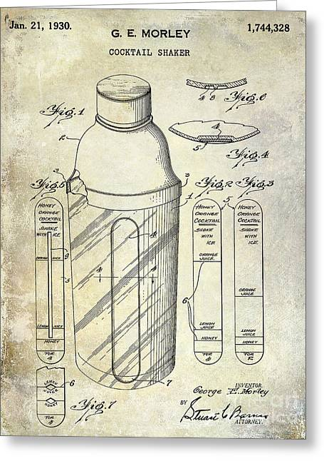 1930 Cocktail Shaker Patent Greeting Card by Jon Neidert