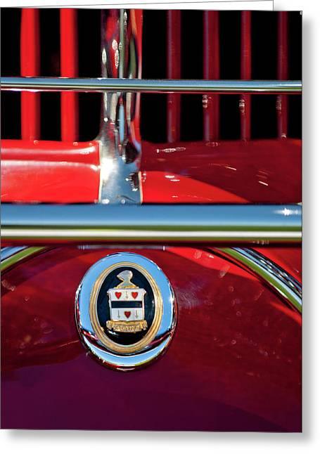 Hoodies Greeting Cards - 1930 Cord L29 Phaeton Emblem Greeting Card by Jill Reger