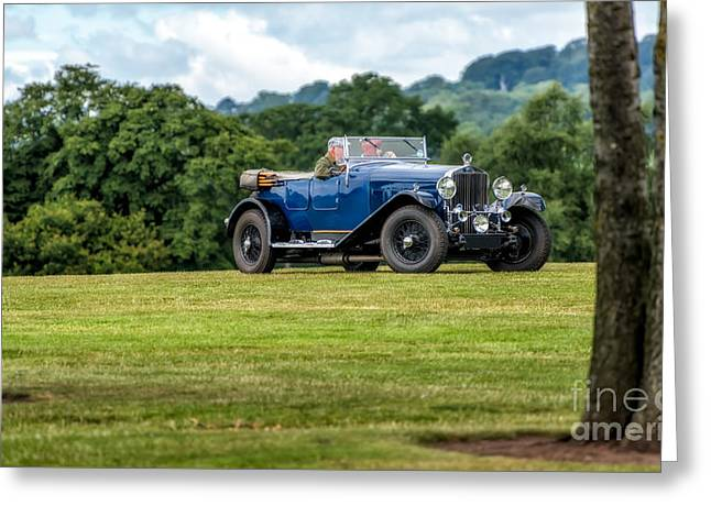 Blue Car. Greeting Cards - 1930 Delage D8 Greeting Card by Adrian Evans