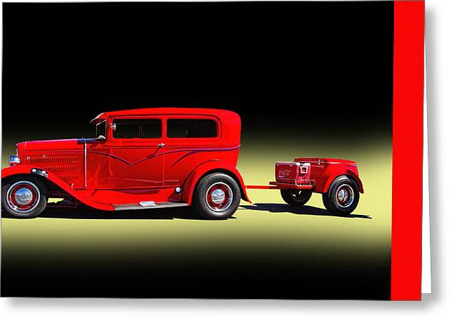 Old Police Cruiser Greeting Cards - 1930 Ford Sedan With Trailer Greeting Card by Nick Gray