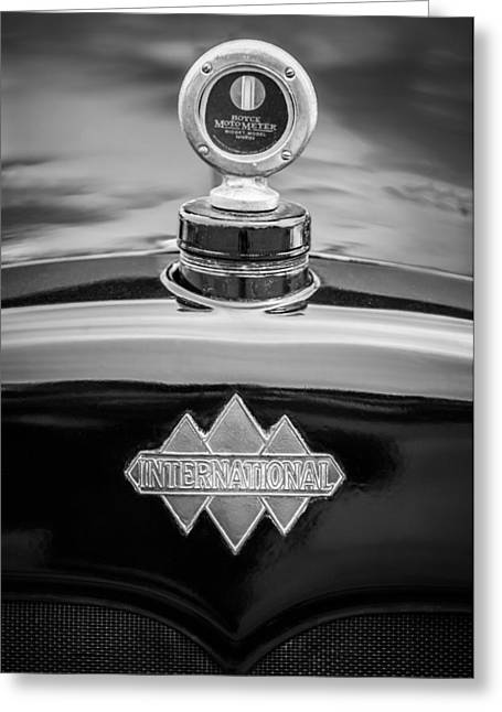 1930 Greeting Cards - 1930 International Six Speed Special Pickup Hood Ornament - Moto Meter -1976bw Greeting Card by Jill Reger