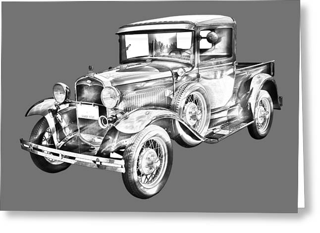 Old Relics Digital Greeting Cards - 1930 Model A Ford Pickup Truck IIlustration Greeting Card by Keith Webber Jr