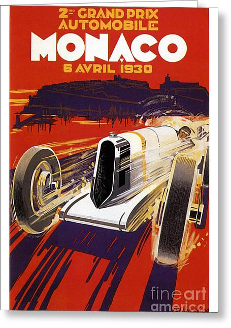 1930 Monaco Grand Prix Greeting Card by Jon Neidert