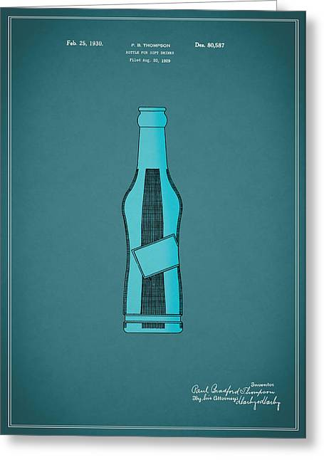 Soft Drink Greeting Cards - 1930 Pepsi Cola Bottle Patent Greeting Card by Mark Rogan