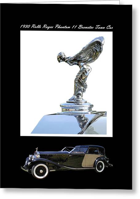 Large Format Greeting Cards - 1930 Rolls Royce Mascot and car Greeting Card by Jack Pumphrey