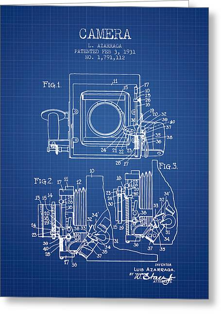 1931 Camera Patent - Blueprint Greeting Card by Aged Pixel