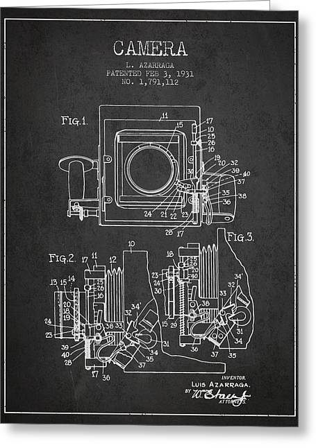 Old Camera Greeting Cards - 1931 Camera Patent - Charcoal Greeting Card by Aged Pixel