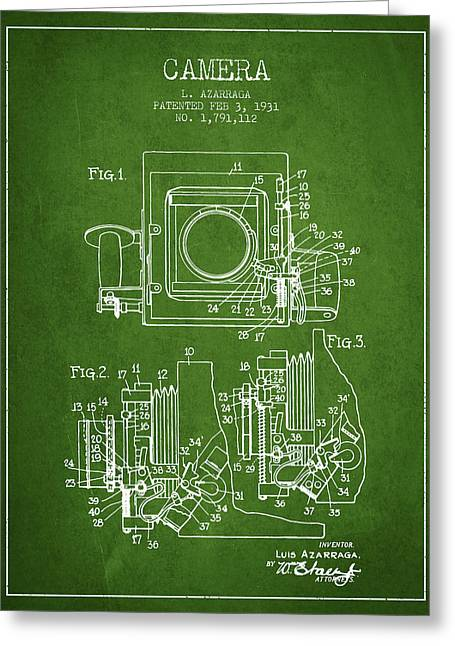Old Camera Greeting Cards - 1931 Camera Patent - Green Greeting Card by Aged Pixel