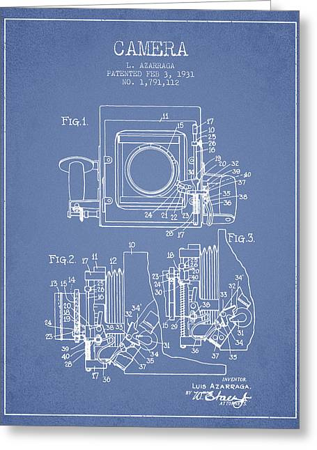 Release Greeting Cards - 1931 Camera Patent - Light Blue Greeting Card by Aged Pixel