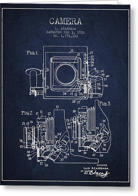 Release Greeting Cards - 1931 Camera Patent - Navy Blue Greeting Card by Aged Pixel