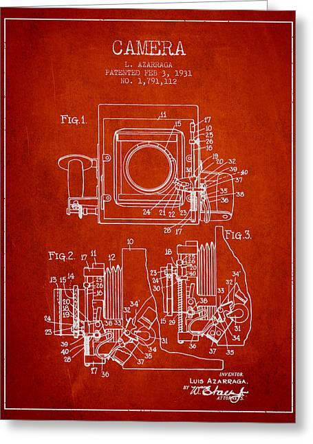 Release Greeting Cards - 1931 Camera Patent - Red Greeting Card by Aged Pixel