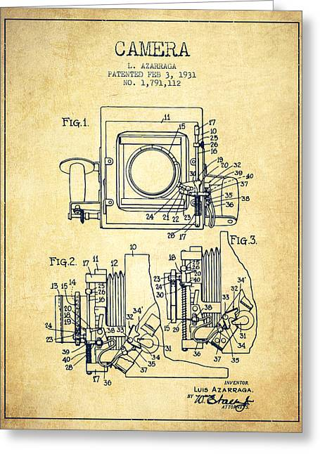 Release Greeting Cards - 1931 Camera Patent - Vintage Greeting Card by Aged Pixel