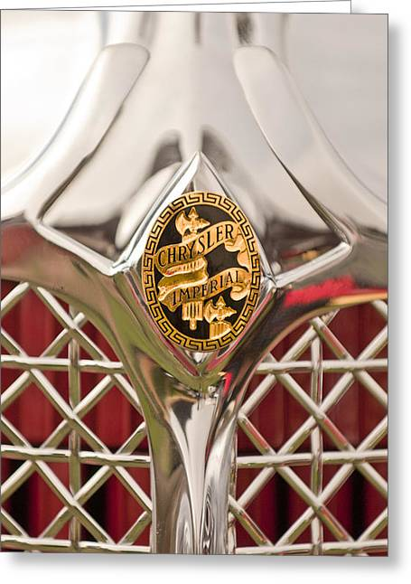 D Greeting Cards - 1931 Chrysler CG Imperial LeBaron Roadster Grille Emblem Greeting Card by Jill Reger