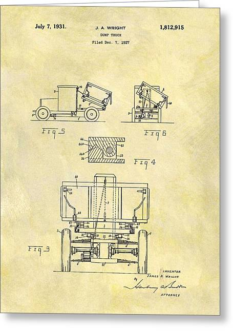 1931 Dump Truck Patent Greeting Card by Dan Sproul