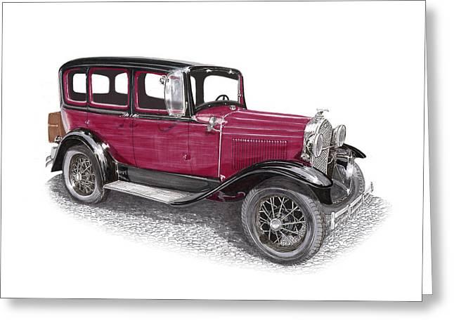 Replacing Paintings Greeting Cards - 1931 Ford four door sedan Greeting Card by Jack Pumphrey