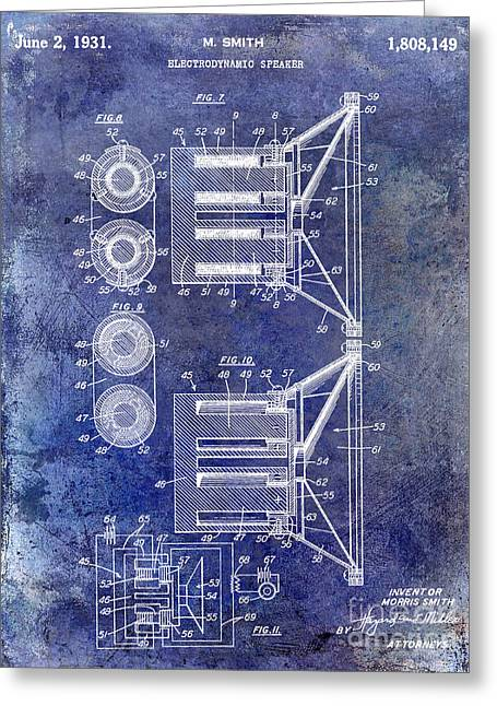 1931 Speaker Patent Drawing Blue Greeting Card by Jon Neidert