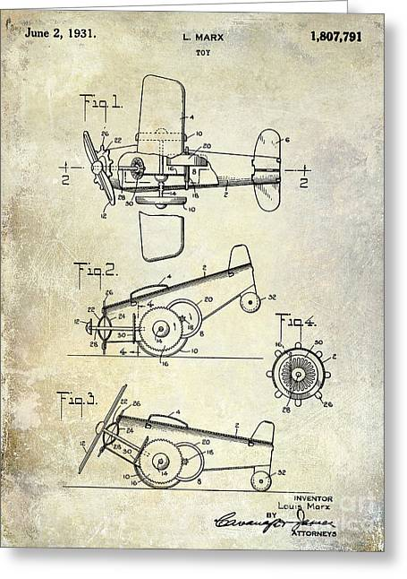 Antique Airplane Greeting Cards - 1931 Toy Airplane Patent Greeting Card by Jon Neidert