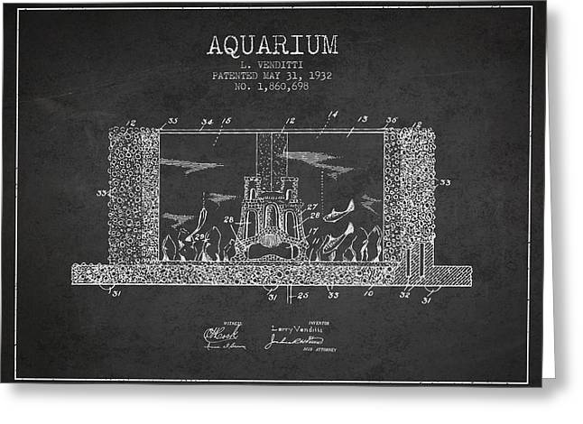 Fish Bowl Greeting Cards - 1932 Aquarium Patent - charcoal Greeting Card by Aged Pixel