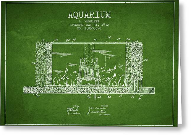 Fish Bowl Greeting Cards - 1932 Aquarium Patent - Green Greeting Card by Aged Pixel