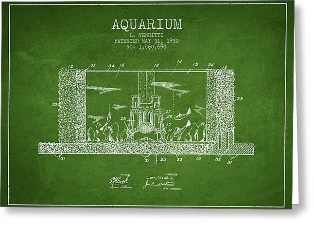 Aquarium Fish Greeting Cards - 1932 Aquarium Patent - Green Greeting Card by Aged Pixel