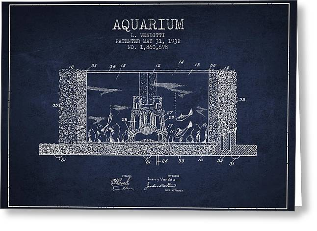 Fish Bowl Greeting Cards - 1932 Aquarium Patent - Navy Blue Greeting Card by Aged Pixel