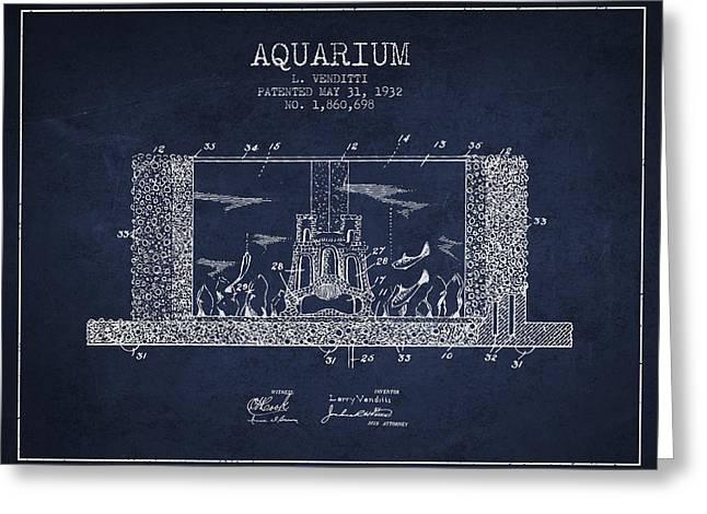 Aquarium Fish Greeting Cards - 1932 Aquarium Patent - Navy Blue Greeting Card by Aged Pixel