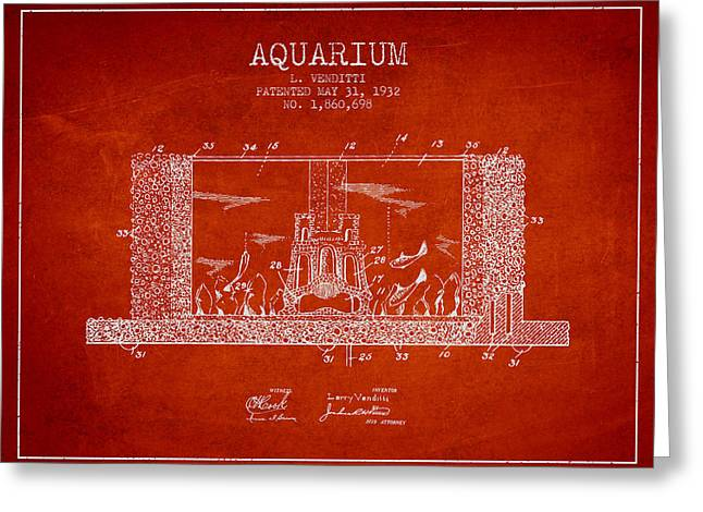 Fish Bowl Greeting Cards - 1932 Aquarium Patent - red Greeting Card by Aged Pixel