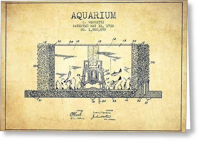 Aquarium Fish Digital Greeting Cards - 1932 Aquarium Patent - Vintage Greeting Card by Aged Pixel