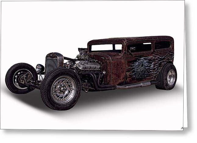 Collector Hood Ornament Greeting Cards - 1932 Chevrolet Rat Rod Greeting Card by Nick Gray