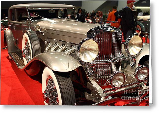 Domestic Cars Greeting Cards - 1932 Duesenberg SJ Turing Front Angle Greeting Card by Wingsdomain Art and Photography