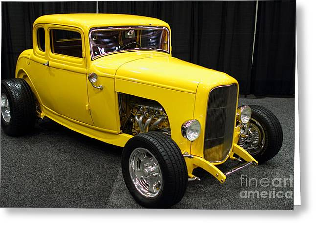 1932 Ford Greeting Cards - 1932 Ford 5 Window Coupe . Yellow . 7D9275 Greeting Card by Wingsdomain Art and Photography