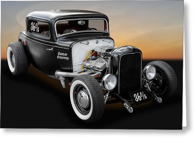 Deuce Greeting Cards - 1932 Ford Deuce Coupe C/Gas Roadster Greeting Card by Frank J Benz