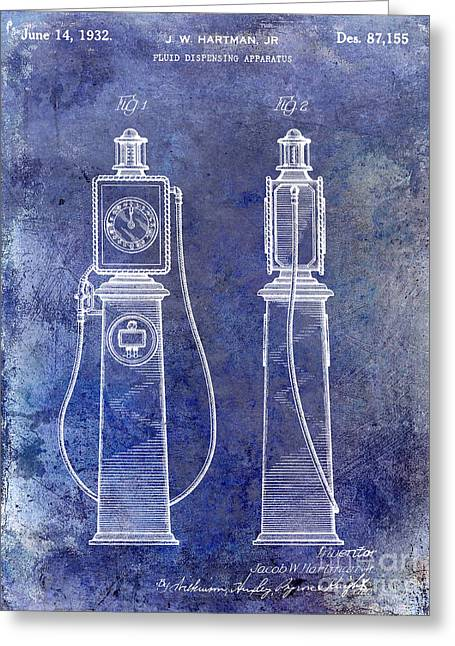 Gas Pumps Greeting Cards - 1932 Gas Pump Patent Blue Greeting Card by Jon Neidert