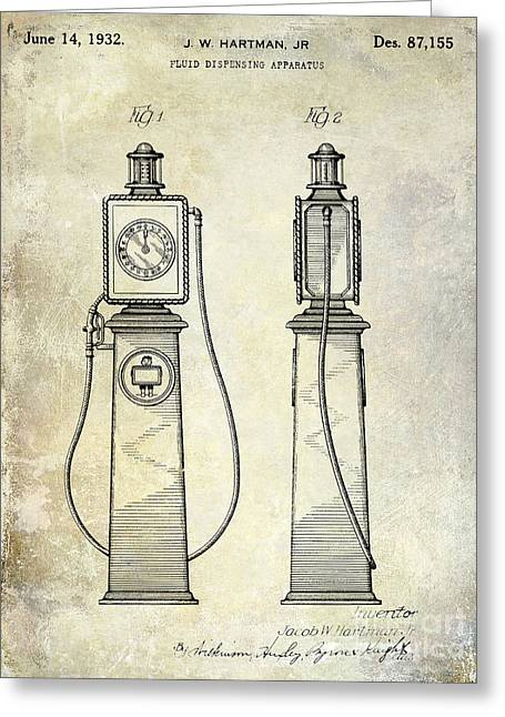 Gas Pumps Greeting Cards - 1932 Gas Pump Patent  Greeting Card by Jon Neidert