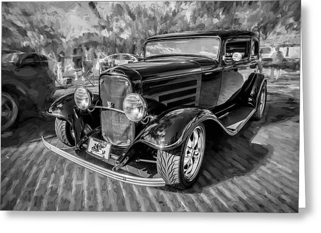 1932 Ford Greeting Cards - 1932 Model A Ford Coupe Painted BW Greeting Card by Rich Franco