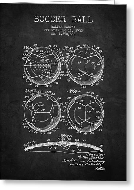 Soccer Drawings Greeting Cards - 1932 Soccer Ball Patent Drawing - Charcoal - NB Greeting Card by Aged Pixel