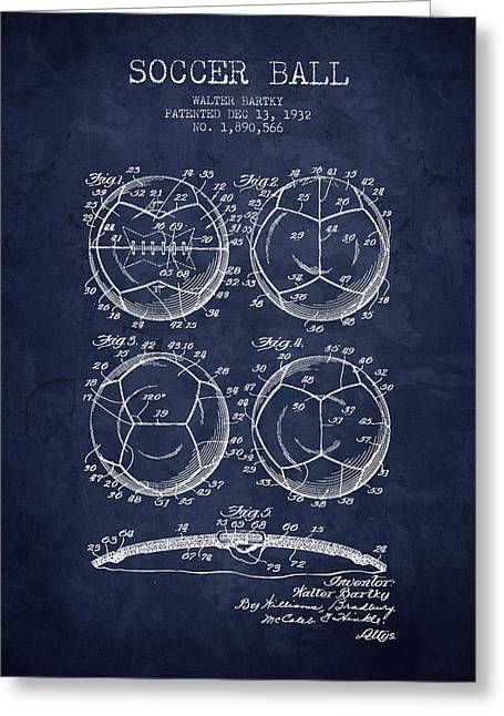 Soccer Drawings Greeting Cards - 1932 Soccer Ball Patent Drawing - Navy Blue - NB Greeting Card by Aged Pixel