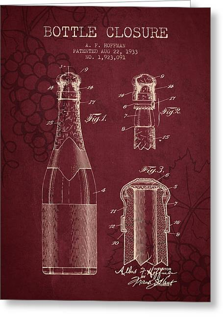 Vineyards Drawings Greeting Cards - 1933 Bottle Closure patent - Red Wine Greeting Card by Aged Pixel