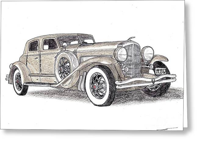Veteran Drawings Greeting Cards - 1933 Duesenberg SJ Greeting Card by Dan Poll