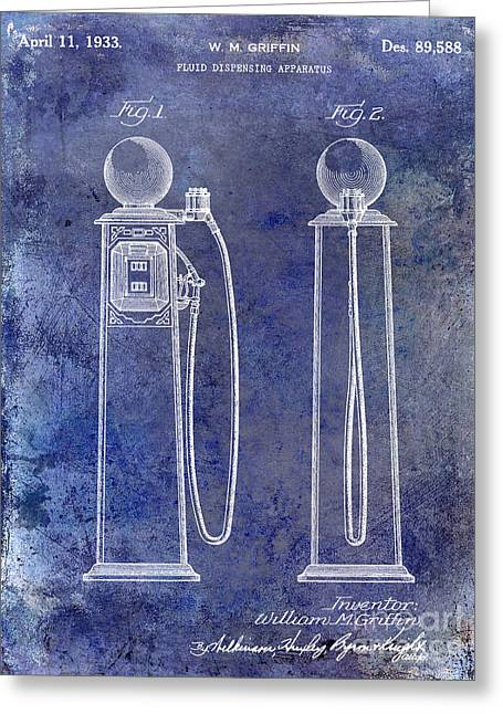 Gas Pumps Greeting Cards - 1933 Gas Pump Patent Blue Greeting Card by Jon Neidert
