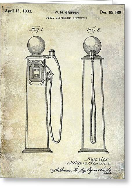 Gas Pumps Greeting Cards - 1933 Gas Pump Patent Greeting Card by Jon Neidert