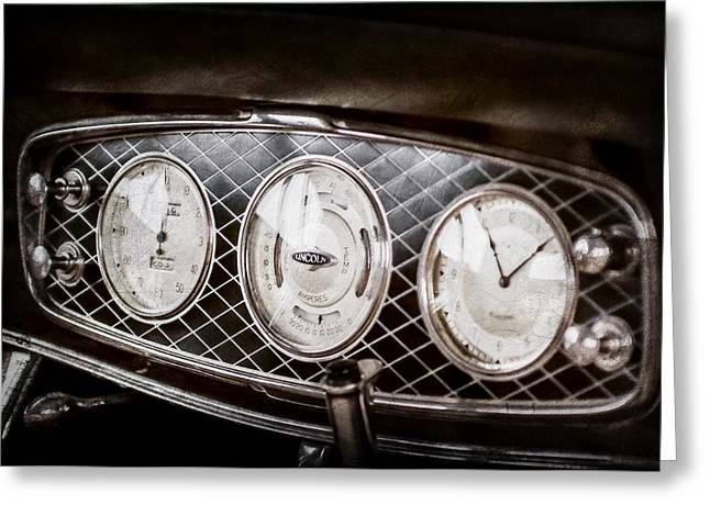 1933 Lincoln Kb Judkins Coupe Dashboard Instrument Panel -0159ac Greeting Card by Jill Reger