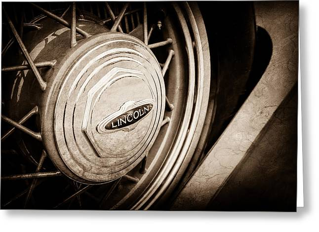 1933 Lincoln Kb Judkins Coupe Emblem - Spare Tire -0167s Greeting Card by Jill Reger