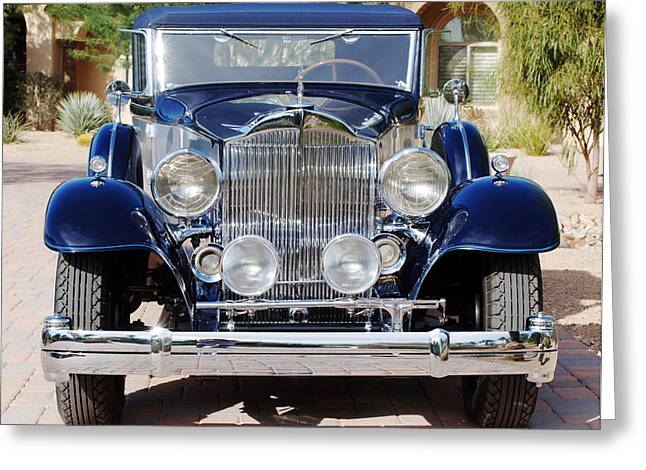 Blue Classic Car Greeting Cards - 1933 Packard 12 Convertible Coupe Greeting Card by Jill Reger