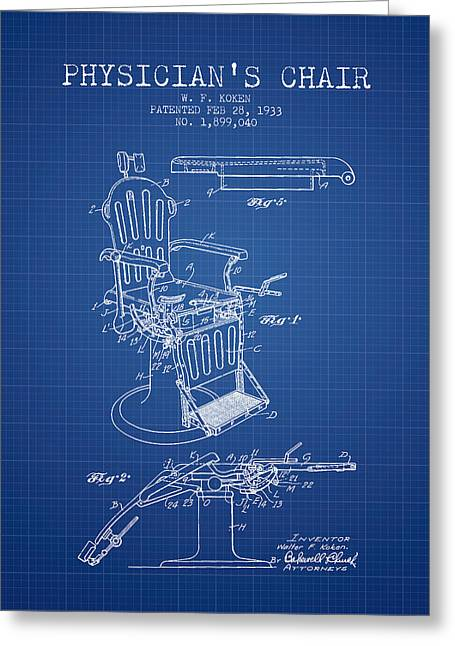 Medical Drawings Greeting Cards - 1933 Physicians chair patent - Blueprint Greeting Card by Aged Pixel
