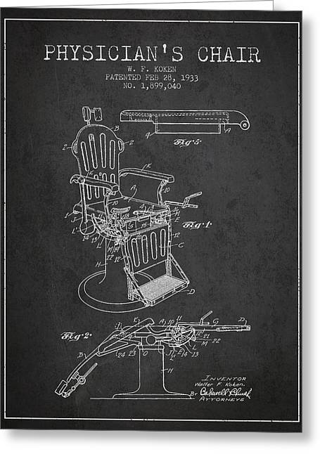 Medical Drawings Greeting Cards - 1933 Physicians chair patent - Charcoal Greeting Card by Aged Pixel