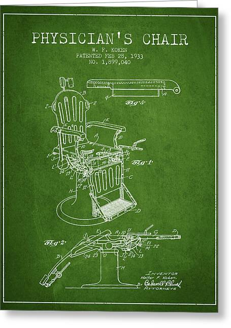 Medical Drawings Greeting Cards - 1933 Physicians chair patent - Green Greeting Card by Aged Pixel