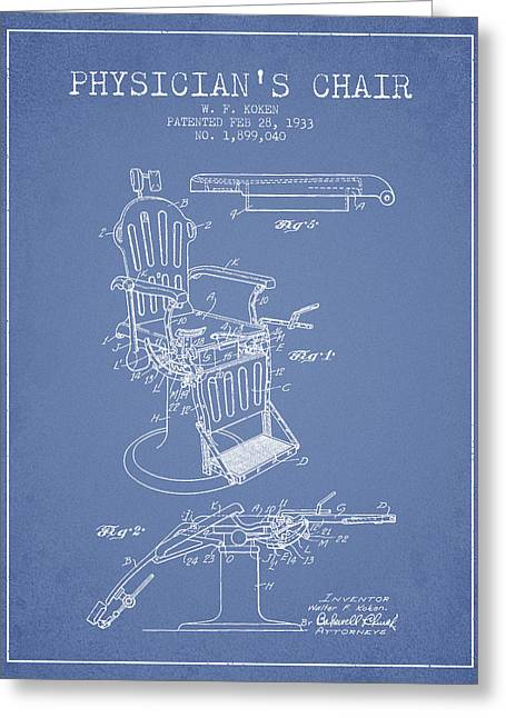 Medical Drawings Greeting Cards - 1933 Physicians chair patent - Light Blue Greeting Card by Aged Pixel