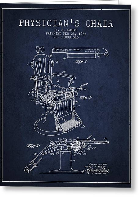 Medical Drawings Greeting Cards - 1933 Physicians chair patent - Navy Blue Greeting Card by Aged Pixel